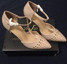 Versace 19v69  Mercedes High Heel Nude/Gold Studs 9 Milano Italia  NWB