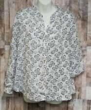 Charter Club Luxury Linen Women's Button Up White Black Floral Tunic Top P/L NWT