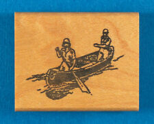 Men Rowing a Canoe Rubber Stamp by The Stamp Pad Co. - Row Boat