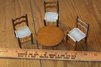 Vintage Doll house Furniture Wooden 3 Chairs & Round coffee table