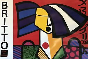 """36"""" x 24"""" lithograph of JAPANESE WOMAN by ROMERO BRITTO, Romm Art Editions, 1992"""