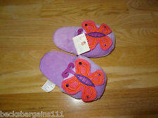 New listing New Girls Slippers House shoes Pink Purple Butterflies 5-9 Polyester Fleece Nwt