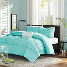 Beautiful Soft Blue Teal White Ruffle Ruch Texture Comforter Set Full Queen Twin