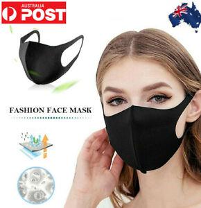 3PCS Washable Black Unisex Face Mask Protective Reusable Breathable Durable AU