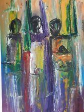 African olio/acrilico dipinto originale firmato Donna e Bambino Folk Art