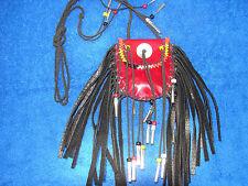 Medicine Bag  Leather  Beaded  Fringed  Native American  Regalia  4 directions