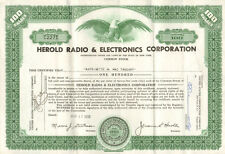 Herold Radio & Electronics > 1958 New York stock certificate scripophily share