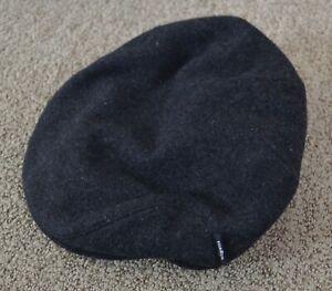 Wigens Swedish Charcoal Gray Black Wool Newsboy Cap Ear Flaps size 58
