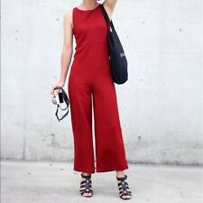 ZARA collection deep red sleeveless jumpsuit playsuit romper back zip M