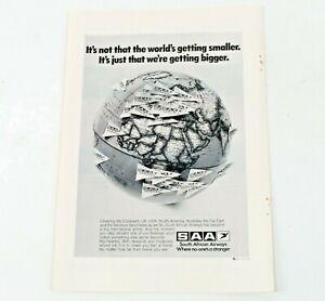 SAA South African Airways Airlines Vintage Original Print Ad Advert 1975 M726