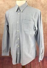 Eddie Bauer Wrinkle Resistant Relaxed Fit Long Sleeve Blue Oxford Shirt Men's L