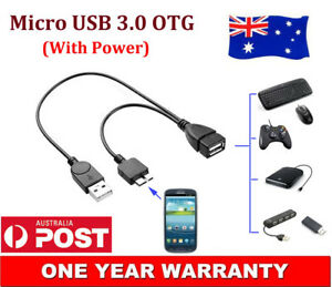 Micro USB 3.0 Male to Female OTG Cable for Samsung Galaxy Note 3 III S5 + Power