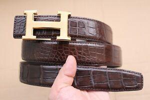"W 1.3"" Brown Genuine Crocodile Skin MEN'S Belt Replacement Belt - No Jointed"