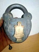 Large Antique Padlock Cast Iron Skeleton Key VR Crown James Williams  British