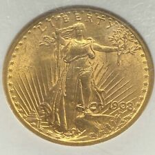 1908 No Motto $20 Gold Saint-Gaudens. NGC MS63