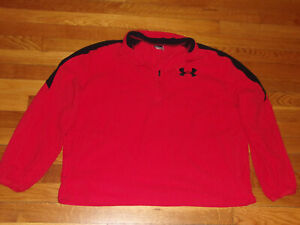 UNDER ARMOUR 1/2 ZIP LONG SLEEVE RED/BLACK FLEECE PULLOVER MENS LARGE EXCELLENT