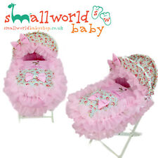 Personalised Floral Pink Frilly Bambi Moses Basket Crib Cover Dressing Bedding