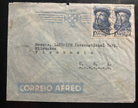 1944 Lisbon Portugal Airmail Commercial Cover To Milwaukee WI USA