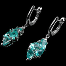 Sterling Silver 925 Natural Neon Blue Apatite & Lab Diamond Earrings