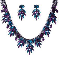 Violet  Rhinestone Dangle Leaf Fringe Choker Collar Necklace Earrings collier