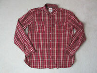 Levis Pearl Snap Button Up Shirt Adult Small Red Plaid Cowboy Rodeo Western Mens