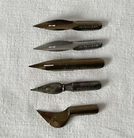 Job Lot 5 x Differnt Unusual Antique Vintage Metal Dip Pen Nibs #UN8