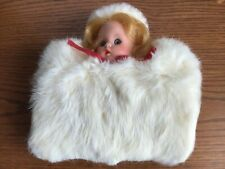 Vintage faux fur girl's hand muff with dolls head