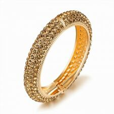 tiaras BRAND NEW 18K GOLD PLATED AND GENUINE TOPAZ CUBIC ZIRCONIA OPEN BANGLE