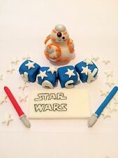 Edible In The Style Of BB-8 Name Set Star Wars Cake Topper Icing Decoration