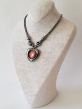 Halskette,Kette mit Herz in Herz Form Braun Magnetverschlus Hämatit(BlutStein)