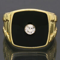 Mens 14k Gold Plated Hip Hop Style Black Top Center Cz Bling Pinky Ring