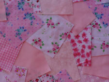 "100 x 4"" Fabric Remnant Bundle patchwork squares~Pink Collection~Craft"