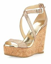Jimmy Choo PORTIA Metallic Nude Crisscross Wedge Sandals 8422 Size 10 B