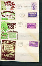 1937 FDC - Scott# 799-802 - Territories - WSE Cachet  (4 covers)  ADD