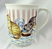 Vintage Otagiri Kitten Cat Mug Cup Tabby and Siamese Playing with Blue Ribbon
