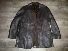 Vintage London Made Leather Jacket Car Coat Jacket Starsky Hutch Fight Club 38 M