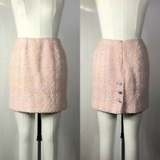 Rare Vtg Chanel Pink Tweed Skirt SS1996 S 38