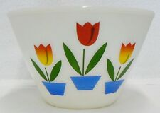FIRE KING 4 QUART MIXING BOWL WITH TULIPS DESIGN