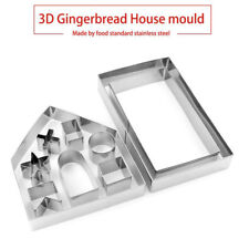 10pcs Stainless Steel Cookie Cutter Christmas Gingerbread House Cake Mold