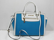 MICHAEL KORS SELMA ZIP SUMMER BLUE  LARGE TOP ZIP SATCHEL HANDBAG