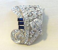Vintage Trifari Rhinestone Pin Brooch Elegant Antique Art Deco Scarf Dress Clip