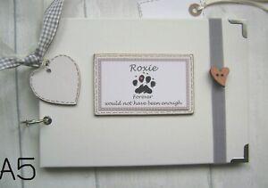 PERSONALISED PET.DOG/cat/RABBIT...A5 SIZE PHOTO ALBUM/SCRAPBOOK/MEMORY BOOK.