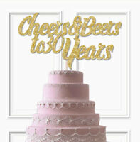 CHEERS AND BEERS TO ANY NUMBER YEARS GLITTER CAKE TOPPER, 30th BIRTHDAY TOPPER