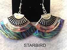 BLUE PAUA ABALONE SEASHELL DANGLE WITH SILVER ANTIQUE CAP EARRINGS 80's VINTAGE