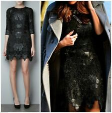 ZARA WOMAN EDITION LIMITED DRESS LACE FAUX LEATHER CROCHET BLACK GORGEOUS - S