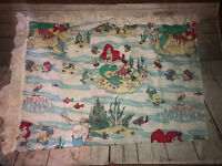 "VTG Disney Little Mermaid Ariel Flounder Fabric Curtain Ruffle Trim 48"" X 60"""