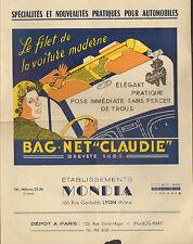 LYON GARIBALDI PUBLICITE ETS MONDIA FILET POUR VOITURE 1956