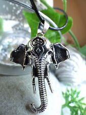 Elefantenkopf Anhänger XL Echt Leder Kette Silber Elefant Indien Boho Geschenk
