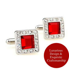 Stainless Steel Hot Big Red Square Crystal Rhinestone Sparkling CZ Cufflinks