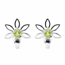 Delicate 15mm Genuine Peridot Flower Stud Earrings and Solid Sterling Silver Hot
